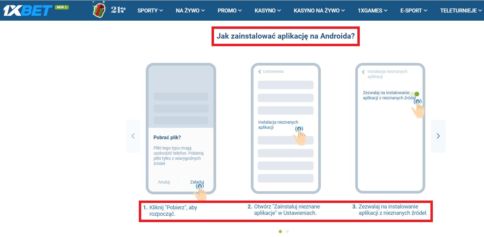 Dla smartfonów z Androidem - 1xBet Android